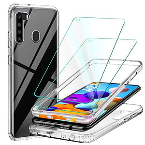 ivencase for Samsung Galaxy A21 Case, Galaxy A21 Case Thin Back TPU Transparent + PC Bumper Border with Screen Protector Tempered Film[2 Pack] Full Body 360° Protective Case for Samsung A21 - Clear