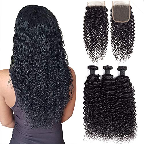 Msjoli Brazilian Virgin Human Curly Hair 3 Bundles With Closure 16 18 20+14 Jerry Curly Hair Weave Bundles With 4X4 Free Part Closure Natural Black (16/18/20+14, Bundles With Closure)