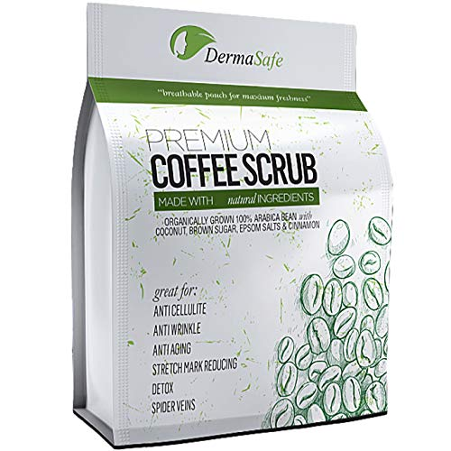 DermaSafe Natural Arabic Coffee Scrub for Body Exfoliation, Anti Cellulite Treatment for Stretch Marks, Spider and Varicose Veins, Acne Breakouts or Eczema, Moisturizing Skin Care