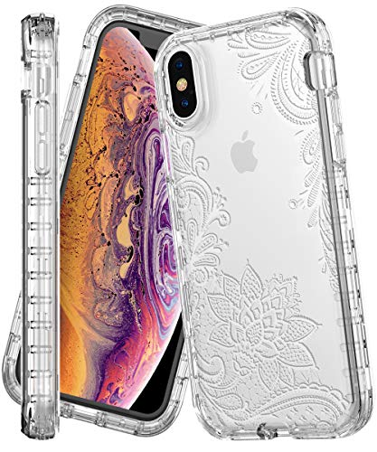 iPhone Xs MAX Case,IN4U Shock Resistant Full Body 3in1 Flower Design Girls Protective Cover for iPhone Xs MAX [6.5 INCH] Case (White Lace Floral)