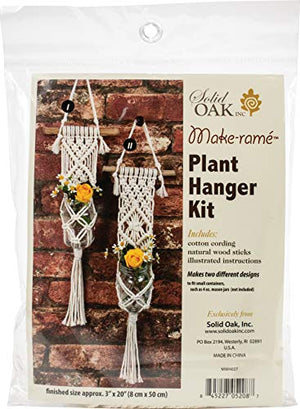 SOLID OAK MACRAME PLNT HNGR KT TWO MINIS, us:one size