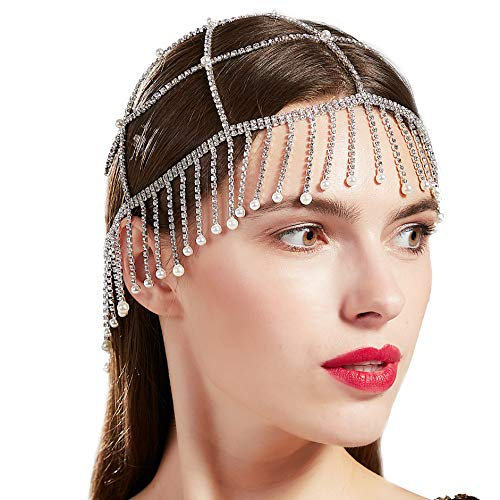 BABEYOND 1920s Crystal Flapper Cap Headpiece Vintage Pearl Rhinestone Flapper Cap Headpiece Roaring 20s Gatsby Hair Accessories (Silver)
