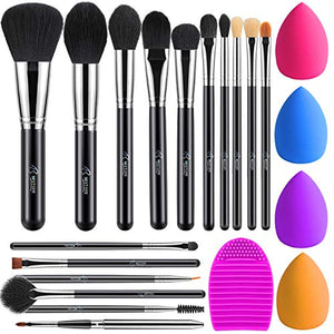 BESTOPE 16Pcs Makeup Brushes Set, 4Pcs Beauty Blender Sponge Set and 1 Brush Cleaner, Premium Synthetic Foundation Brushes Blending Face Powder Eye Shadows Make Up Brushes Kit