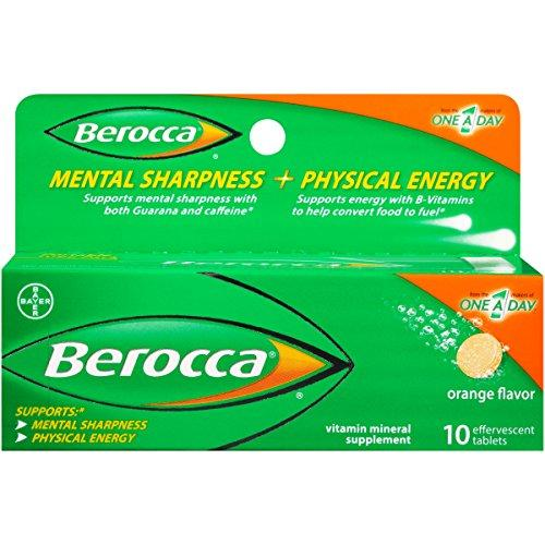 Berocca With Caffeine And Guarana To Support Mental Sharpness - Orange Flavor 10 Count