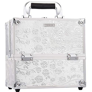 Frenessa Professional Makeup Train Case 4-Tier Trays Aluminum Jewelry Storage Organizer Lockable Carrying with Handle Travel Makeup Storage Box Gift for Woman Silver Rose