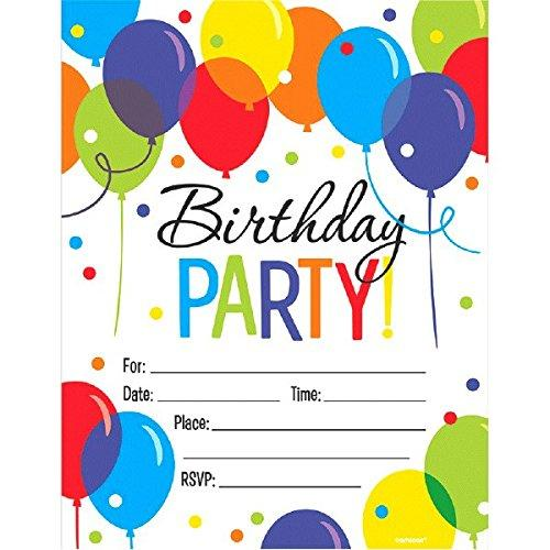 Amscan 491540 Supplies Party Invitations, One Size, Multicolor