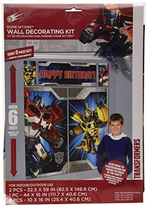 "Amscan Transformers Birthday Party Scene Setters Wall Decorating Kit (5 Pack) 59"" X 65"" Multicolor"