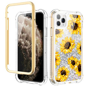 Caka Case for iPhone 11 Pro Max Case Glitter Liquid Flower Full Body Protection with Built in Screen Protector for Girls Women Girly Protective Case for iPhone 11 Pro Max 6.5 (Sunflower)