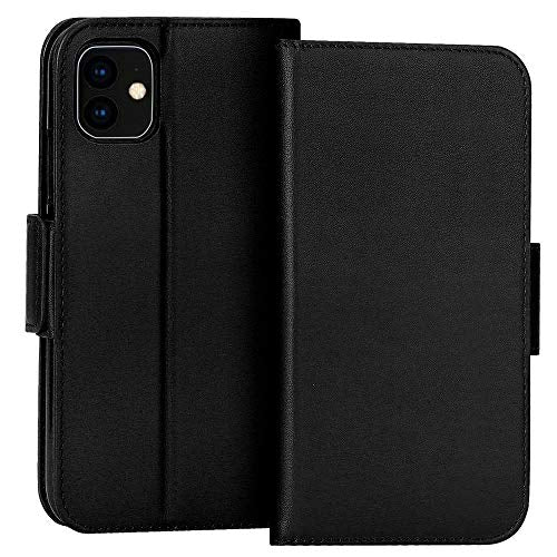 "FYY Case for iPhone 11 6.1"", Luxury [Cowhide Genuine Leather][RFID Blocking] Wallet Case, Handmade Flip Folio Case Cover with [Kickstand Function] and[Card Slots] for Apple iPhone 11 6.1"" Black"
