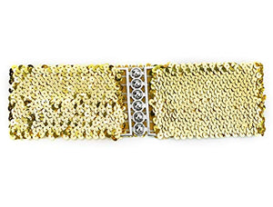 uxcell Ladies Sequins Decor Metal Interlocking Buckles Elastic Waist Belt - Gold