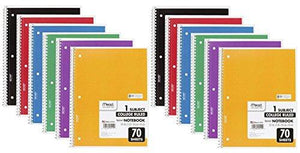 Mead Spiral Notebook, 1 Subject, 70 College Ruled Sheets, Assorted Colors, 12 Pack