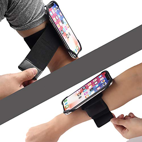 Running Armband & Wristband Phone Holder, 360° Rotatable Armband for iPhone Samsung Galaxy Google Pixel, Cellphone Wristband Great for Hiking Biking Running (Black)