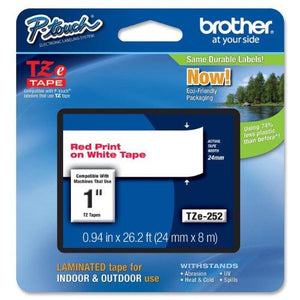 Brother Tape, Laminated Red On White, 24Mm (Tze252) -