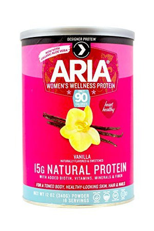 Designer Protein ARIA Women's Wellness Protein Vanilla ,12 oz (Pack of 2)