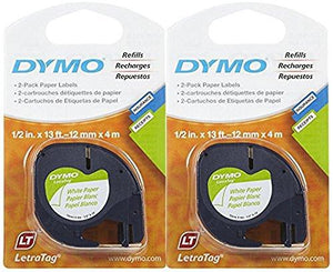 Dymo 10697 Self-Adhesive White Paper Labeling Tape For Letratag, 2 Blister Packs (4 Refills), Black On White, 1/2-Inch Wid