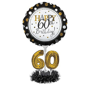 Creative Converting Happy 60Th Birthday Balloon Centerpiece Black And Gold - 317308