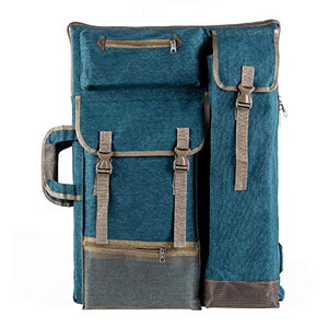 "Transon Art Portfolio Case Artist Backpack Canvas Bag Large 26"" x 19.5"" Turquoise Green"