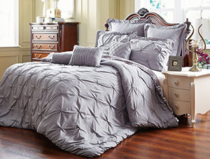 Unique Home 8 Piece Reversible Pinch Pleat Comforter Set Fade Resistant