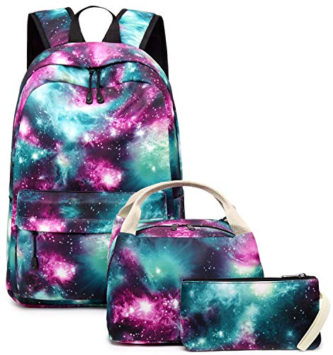 School Backpack Galaxy Teens Girls Boys Kids School Bags Bookbag with Lunch bag pencil pouchLaptop Sleeve (Galaxy Green-0033)