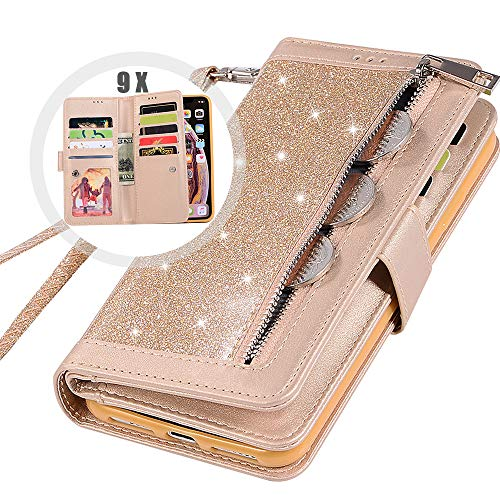 iPhone XR Bling Wallet Case with Strap for Women,Auker 9 Card Holder Folio Flip Glitter Leather Zipper Wallet Case w/Fold Stand&Money Pocket Sparkly Full Protective Purse Case for iPhone XR (Gold)