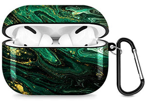 A-Focus Case for AirPods Pro Case, Marble Texture Series Rock Stone IMD Design 360 Degrees Full Print Shock Proof Flexible Slim TPU Case for AirPods Pro Case Glossy Turquoise