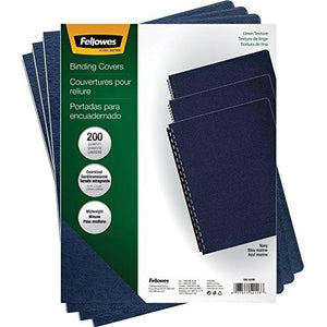 Fellowes 52113 Linen Texture Binding System Covers, 11-1/4 X 8-3/4, Navy (Pack Of 200)