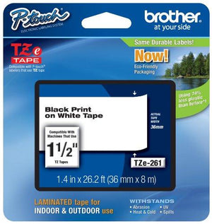 Brother Laminated Black On White 1 1/2 Inch Tape - (Tze261) -