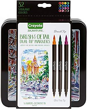 Crayola 58-6501 Brush & Detail Dual Tip Markers- 32 Colors- 16 Count -Multicolor