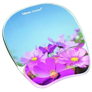 Fellowes Photo Gel Mouse Pad And Wrist Rest With Microban Protection - Pink Flowers