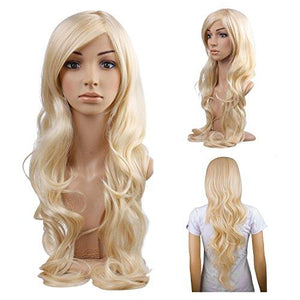 Melodysusie Cosplay Blonde Curly Wig - Gorgeous Women Long Curly Wig With Free Wig Cap (Light Blonde)