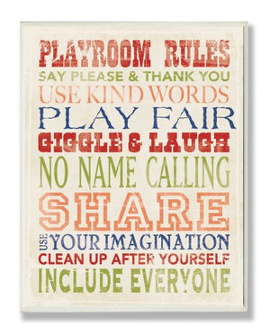 Stupell Industries Playroom Rules in Four Colors Wall Plaque, 13 x 19, Design by Artist Stephanie Workman Marrott