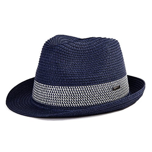 Straw Fedora Summer Panama Beach Hats Men Women Sun Hats Golf Packable 56-59CM Navy