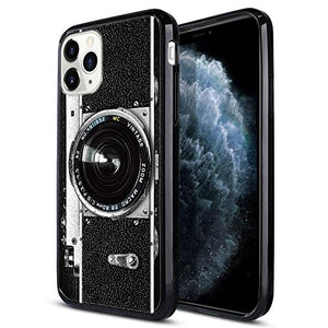 FINCIBO Case Compatible with Apple iPhone 11 Pro 5.8 inch 2019, Slim Shock Absorbing TPU Bumper + Clear Hard Protective Case Cover for iPhone 11 Pro (NOT FIT 11 Pro Max) - Retro Vintage Camera Zoom