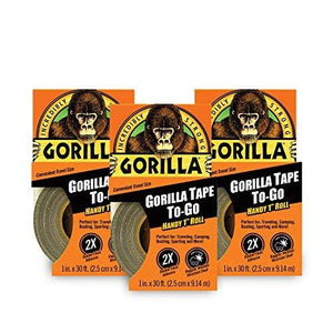 "Gorilla 6100101-3 Duct Tape To-Go (3 Pack), 1"" X 10 Yd., Black"