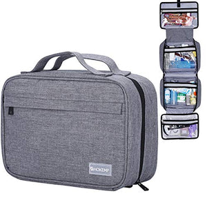Hanging Travel Toiletry Bag for Men and Women - Large Capacity Cosmetic Wash Bag with 4 Compartments, Perfect for Travel Organize & Daily Use by HOKEMP (Gray)