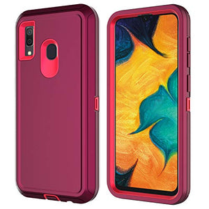 Aimoll-88 Galaxy A20E Case, Galaxy A10E Case, with [Built-in Screen Protector] Full-Body [Heavy Duty] Shockproof Drop-Proof Triple Layer Protection for Samsung Galaxy A20E Case (Wine/Rose)