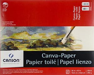 Canson Canva-Paper Pad Primed For Oil Or Acrylic Paints Top Bound 136 Pound 16 X 20 Inch 10 Sheets
