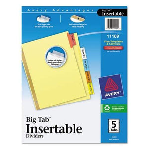 Avery Big Tab Insertable Dividers, Buff Paper, 5 Multicolor Tabs, 1 Set (11109)
