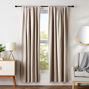 "AmazonBasics Room Darkening Blackout Window Curtains with Tie Backs Set, 52"" x 84"", Taupe"