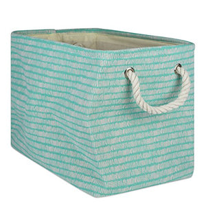 DII Collapsible Polyester Storage Basket or Bin with Durable Cotton Handles, Home Organizer Solution for Office, Bedroom Closet, Toys, Laundry, Medium, Aqua