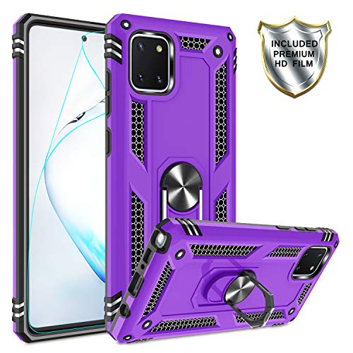 Samsung Galaxy Note 10 Lite Case, M60s Case with HD Screen Protector, Gritup [Military Grade] Metal Ring Kickstand Designed Cover 15ft. Drop Tested Defender Phone Case for Galaxy A81 Purple