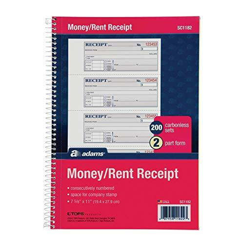 Adams Money And Rent Receipt Book 2-Part Carbonless 200 Sets Per Book 4 Receipts Per Page