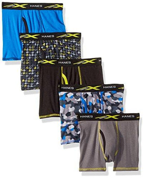 Hanes Boys' Active Cool X-Temp Boxer Brief 5-Pack, Assorted Medium