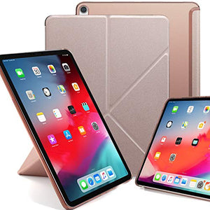 KHOMO Horizontal and Vertical Display Stand Capable Cover for iPad Pro 11 Inch Case (Released 2018) - Dual Origami Series - See Through Back - Rose Gold