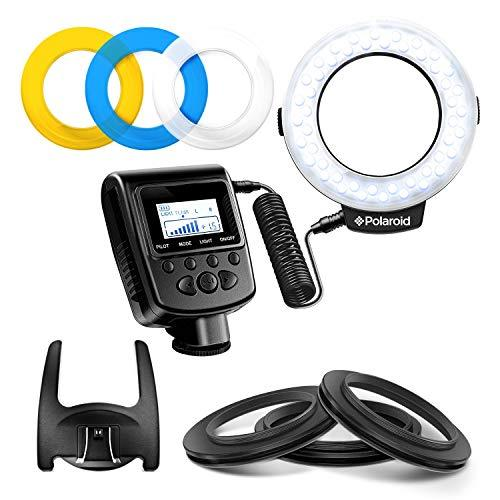 Polaroid 48 Macro Led Ring Flash & Light Includes 4 Diffusers (Clear Warming Blue White) For Canon