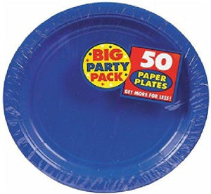 Amscan Ami 630732.105 Plastic Lunch Plates, 10.5-Inch, Bright Royal Blue