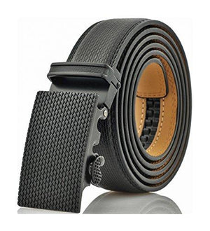 Marino Avenue Men'S Genuine Leather Ratchet Dress Belt With Automatic Buckle - Black