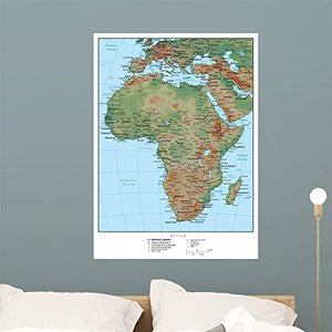 Wallmonkeys Africa Terrain Educational Map Wall Mural Peel and Stick Graphic (36 in H x 26 in W) WM161542