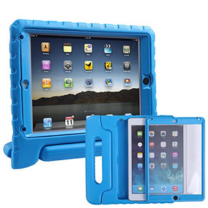 HDE Case for iPad Air - Kids Shockproof Bumper Hard Cover Handle Stand with Built in Screen Protector for Apple iPad Air 1 - 2013 Release 1st Generation (Blue)