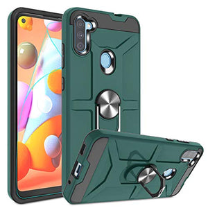 Atump Galaxy A11 Case with HD Screen Protector, 360° Rotation Ring Holder Kickstand [Work with Magnetic Car Mount] PC+ TPU Phone Case for Samsung Galaxy A11, Midnight Green